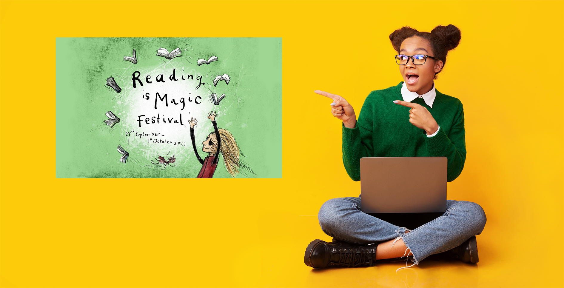 Image shows a young woman sitting crossed legged, she is pointing at the Reading is Magic Festival poster