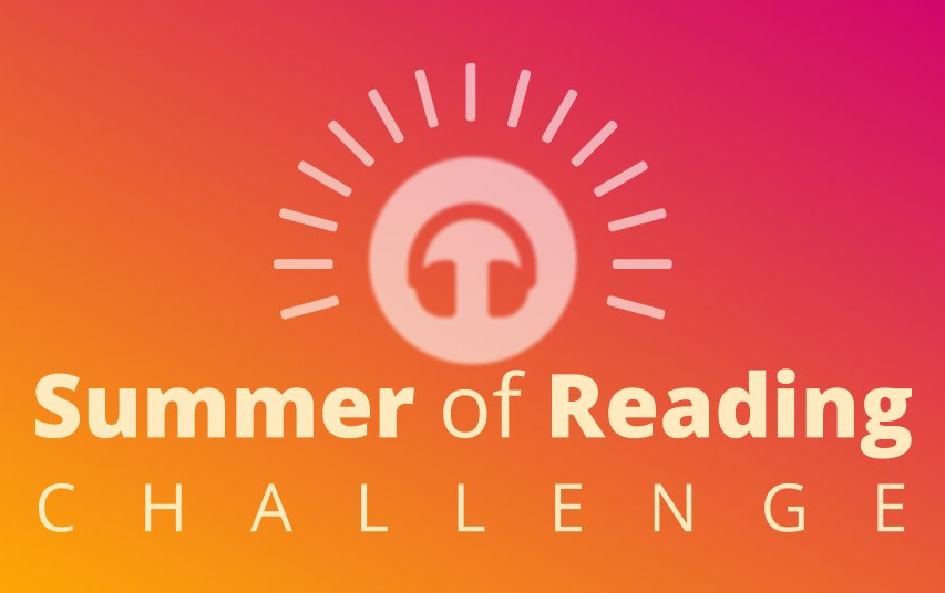 Image shows the summer of reading challenge logo