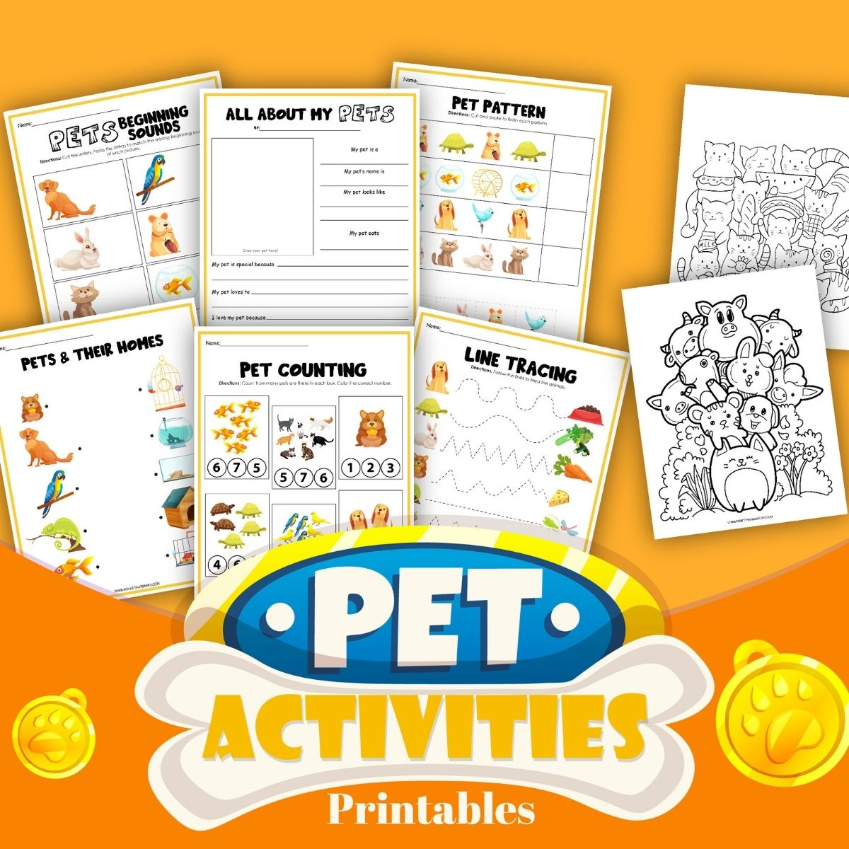 Crafts: Dog Themed Pets Activity Printable for Kids