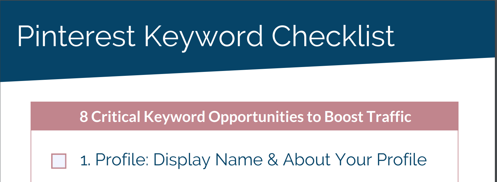 screenshot of 8 Critical Pinterest Keyword Opportunities to Boost Traffic Checklist