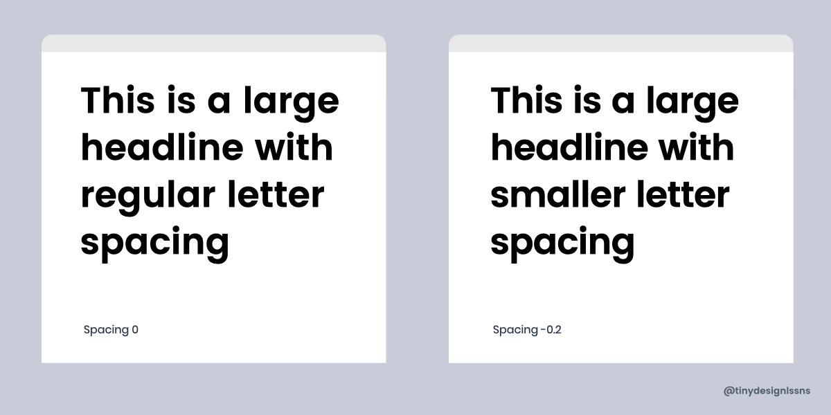 Diagram showing contrasting font spacing styles