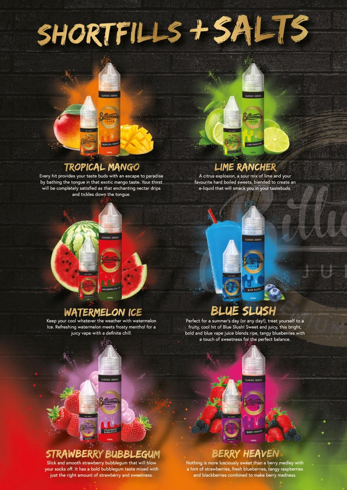 Billionaire Juice Flavours