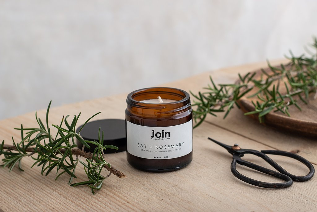 Join Handcrafted Vegan Soy Wax Candle - Bay and Rosemary fragrance
