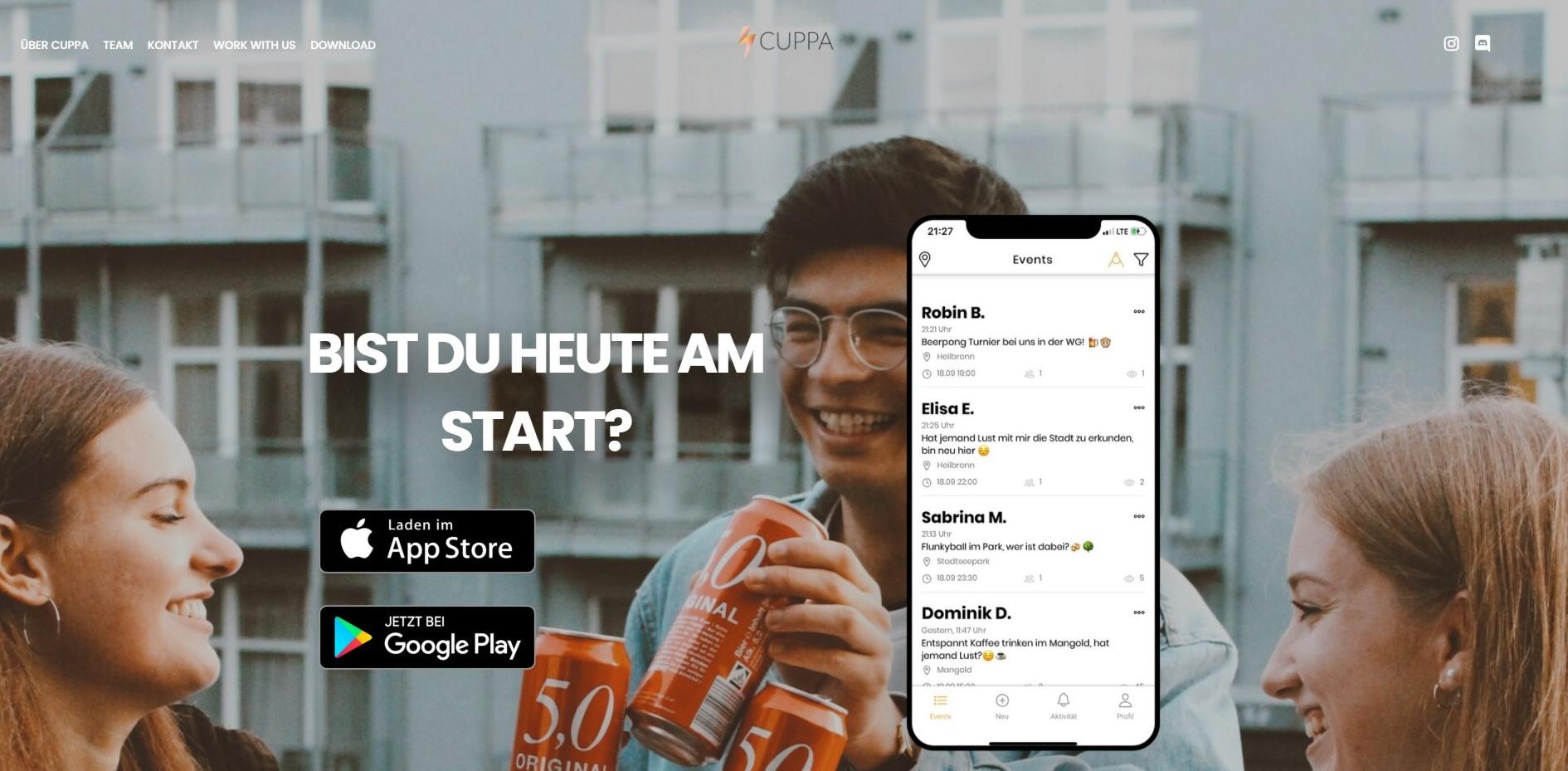 Screenshot of Cuppa website