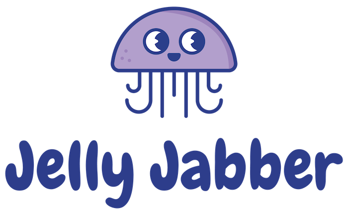 Jelly Jabber logo with cute jellyfish and bubble text