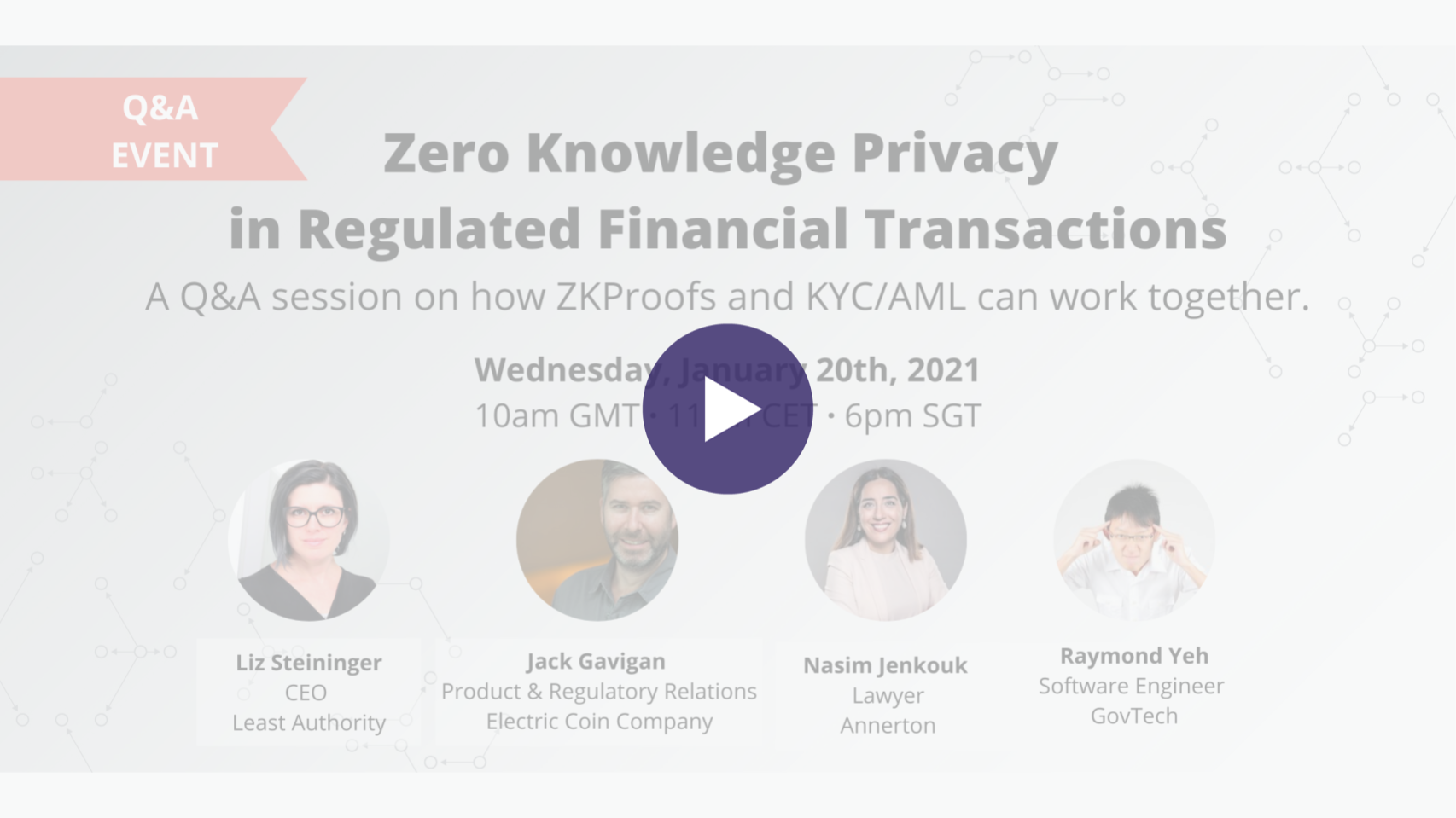 Event announcement with photos of Liz Steininger, CEO and Managing Director at Least Authority as the moderator, and panelists Jack Gavigan, Head of Product and Regulatory Relations at Electric Coin Company, Nasim Jenkouk, Lawyer at Annerton, Raymond Yeh, Software Engineer at Government Technology Agency
