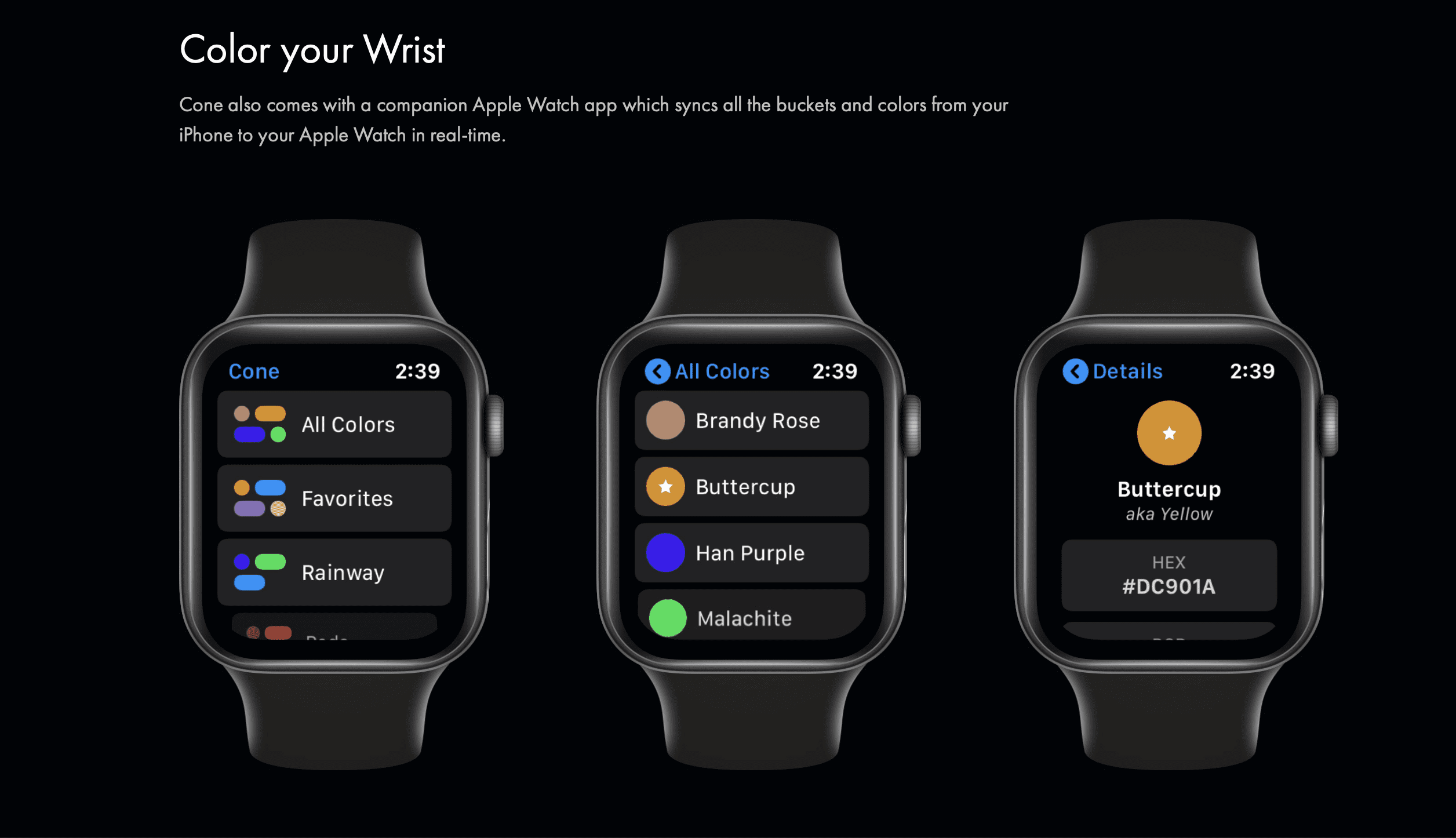 Cone app on Apple Watches