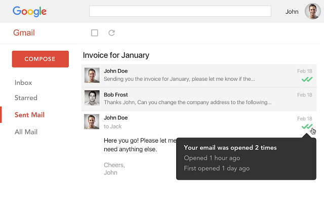 Gmail with MailTrack extension