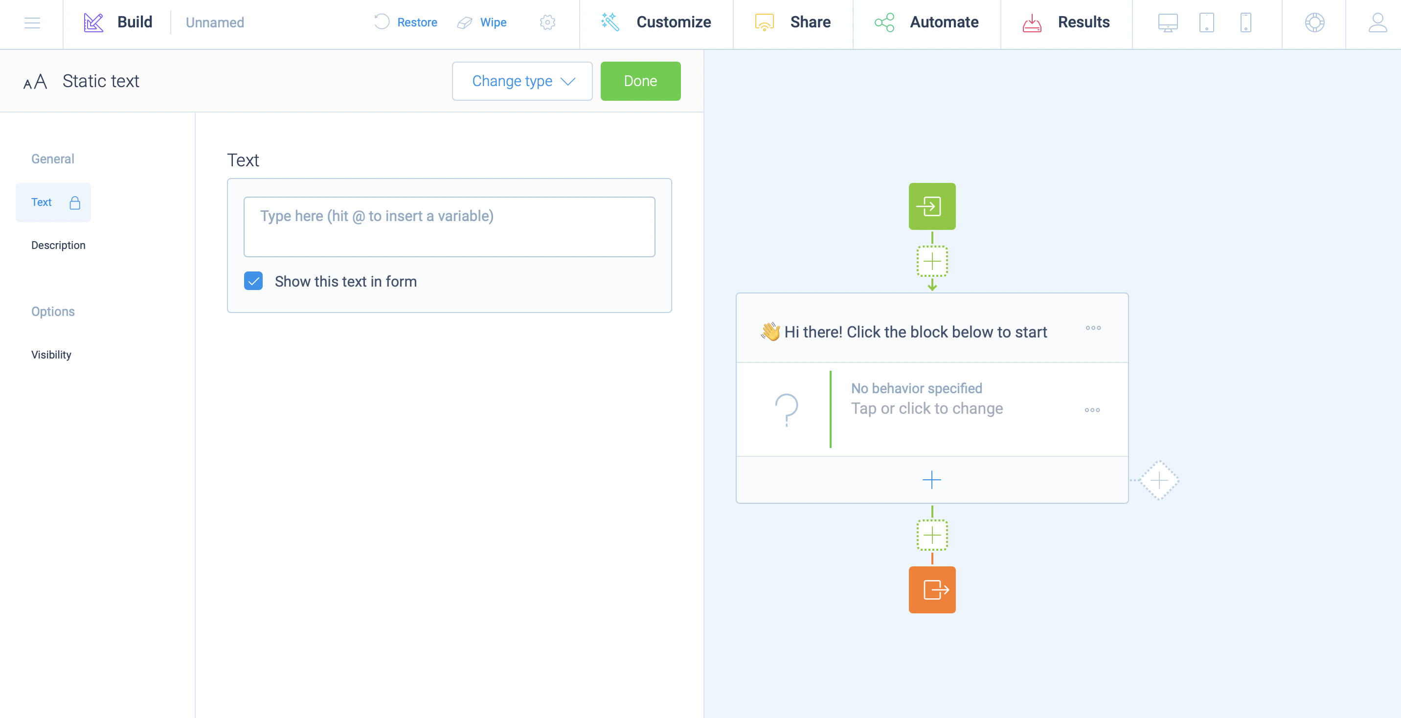Creating a form on Tripetto