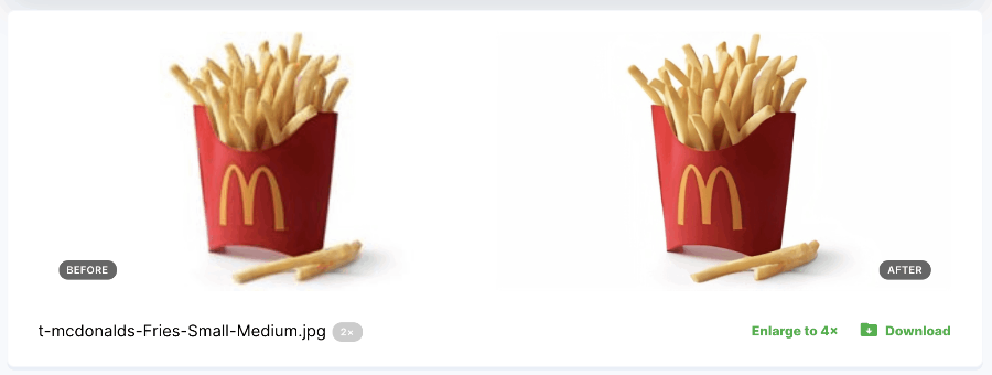 low quality and high quality image of french fries
