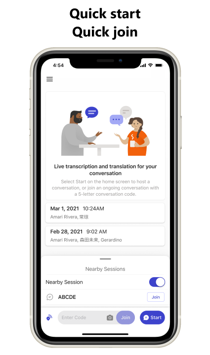 Group Transcribe app screenshot taken from Microsoft