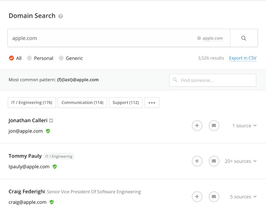 Hunter search tool