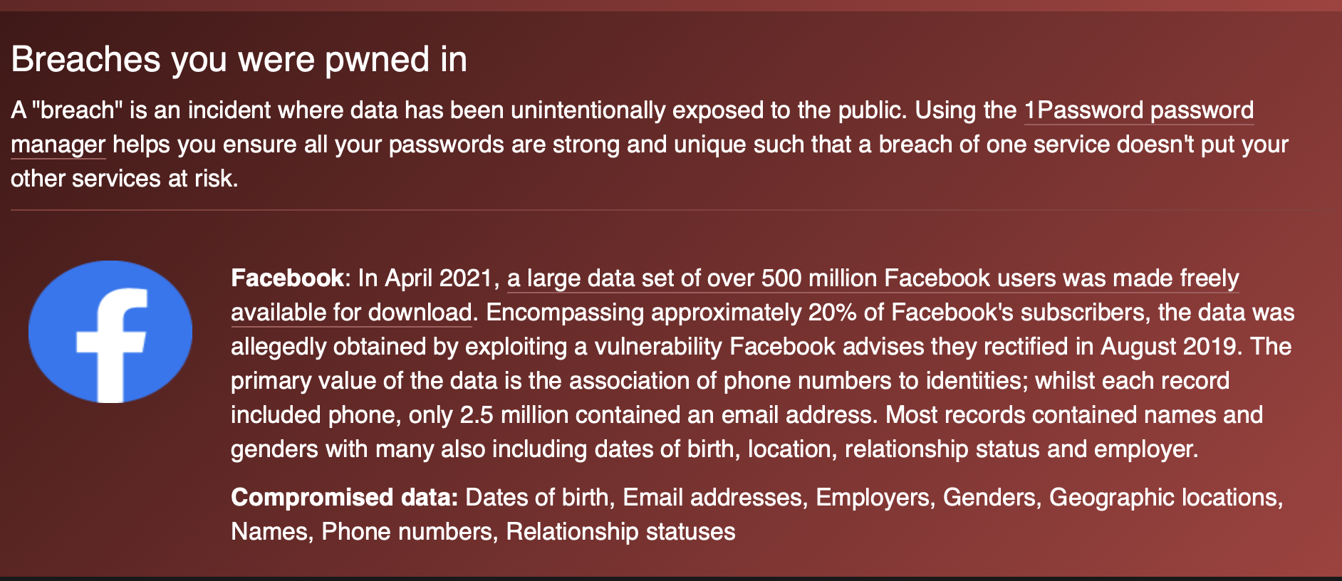 Facebook Data Breach on Have I Been Pwned