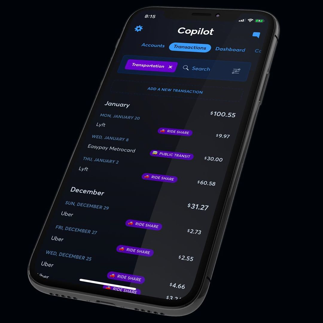 Viewing transactions on copilot