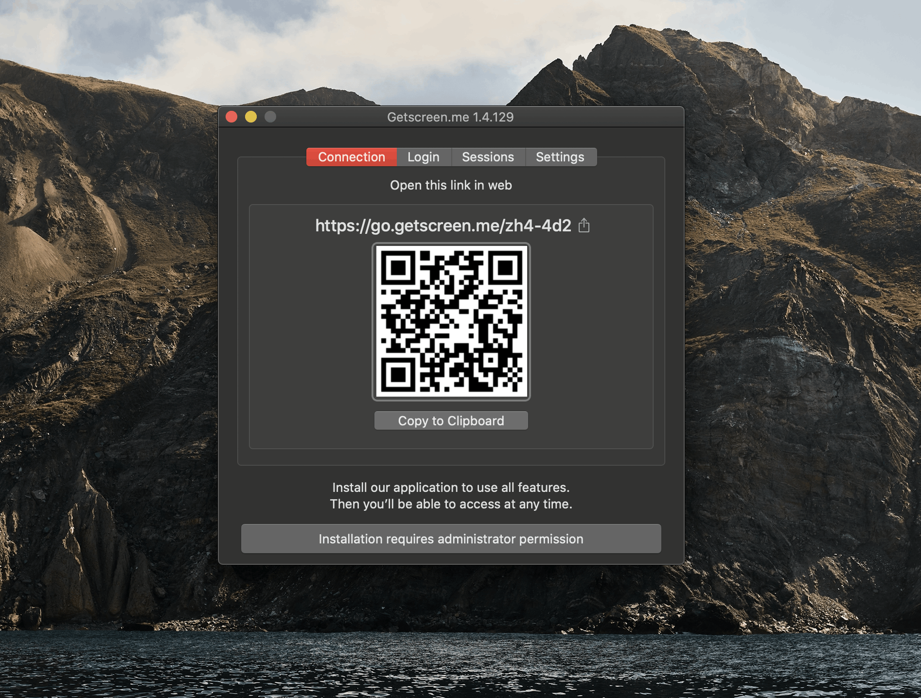 Getscreen QR code for remote access