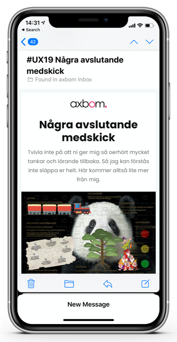 E-mail shown on an iPhone. E-mail has Swedish text.