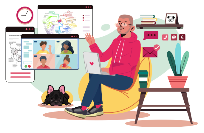 Illustration of Per Axbom sitting on a beanbag and running a video meeting, Details include his friend bulldog, a coffee mug, books, picture of the inclusive panda and laptop with a heart on it.