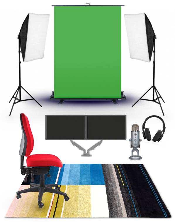 Various equipment: green screen, soft boxes (lights), two monitors, a chair, headset, microphone and a carpet.