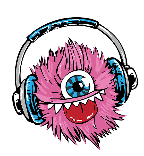 Illustration of a pink monster with a crazy expression listening to music in headphones.