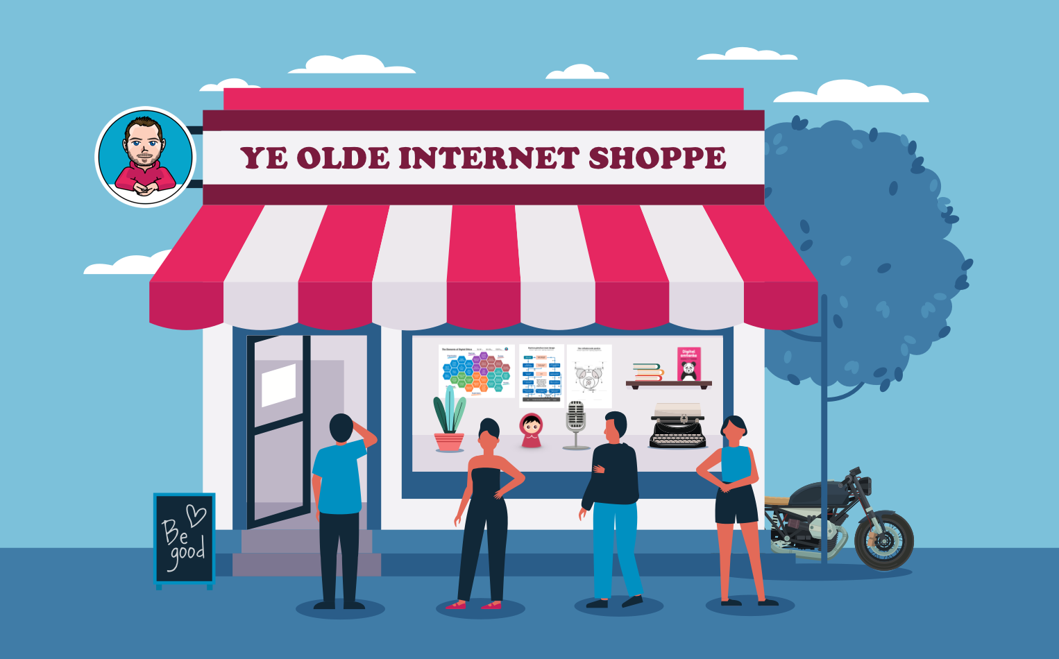 Ritad fysisk butik med människor som köar utanför. Per Axboms avatar-bild sitter fast på butiksskylten med texten