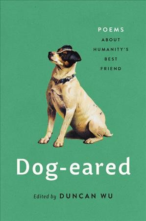 Dog-eared poems book cover, featuring a white dog sitting on a green background