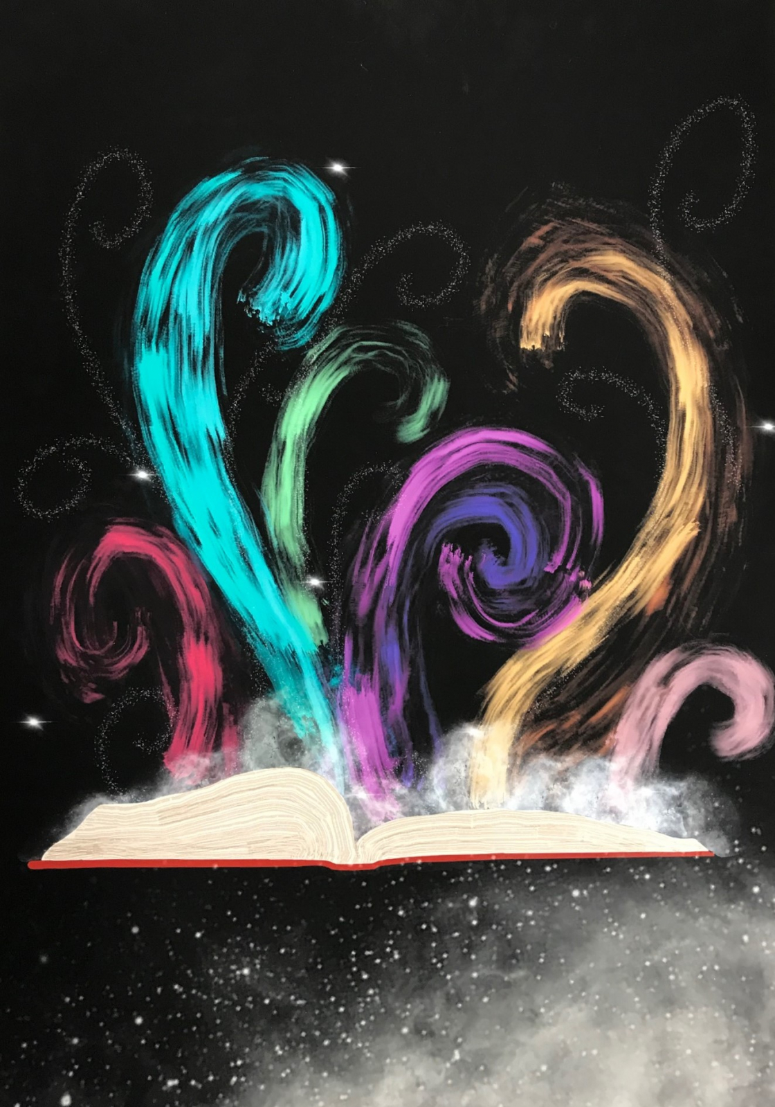 colorful swirls steaming from an open book
