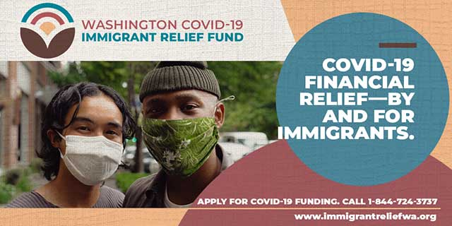 Youths wearing face masks with text COVID-19 financial relief by and for immigrants