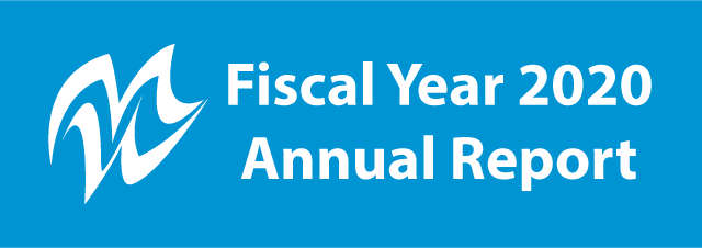 the words fiscal year 2019 annual report with omwbe logo on blue background