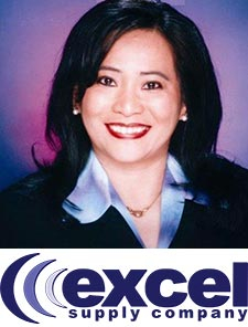 Headshot of Irene Reyes owner of Excel Supply Company with logo
