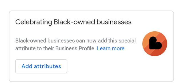 Black-owned business badge from Google My Business