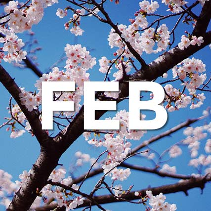 The word FEB superimposed on image with cherry blossoms