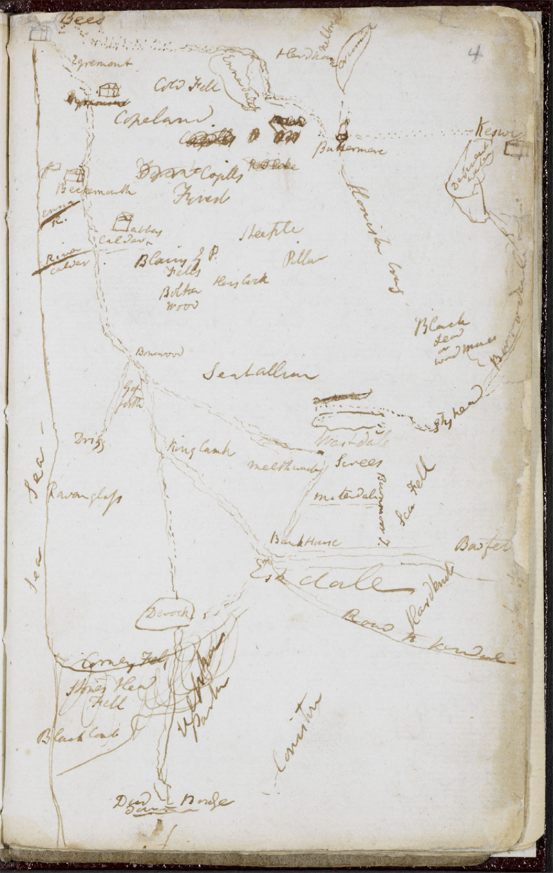 Copy of a map said to be made by a Delaware man on a blazed tree around 1782