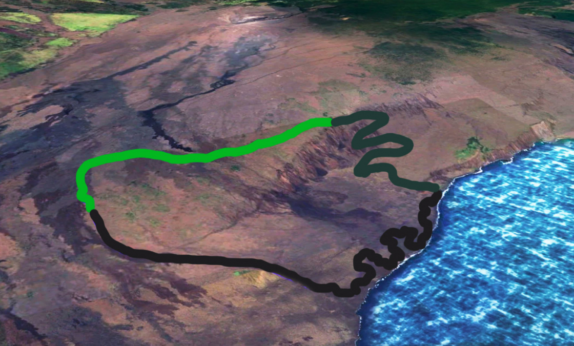 Map of approximate route of Ka'aha Trail Hawaii
