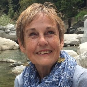 Writer Ann Fisher-Wirth woman in blue scarf in Italy