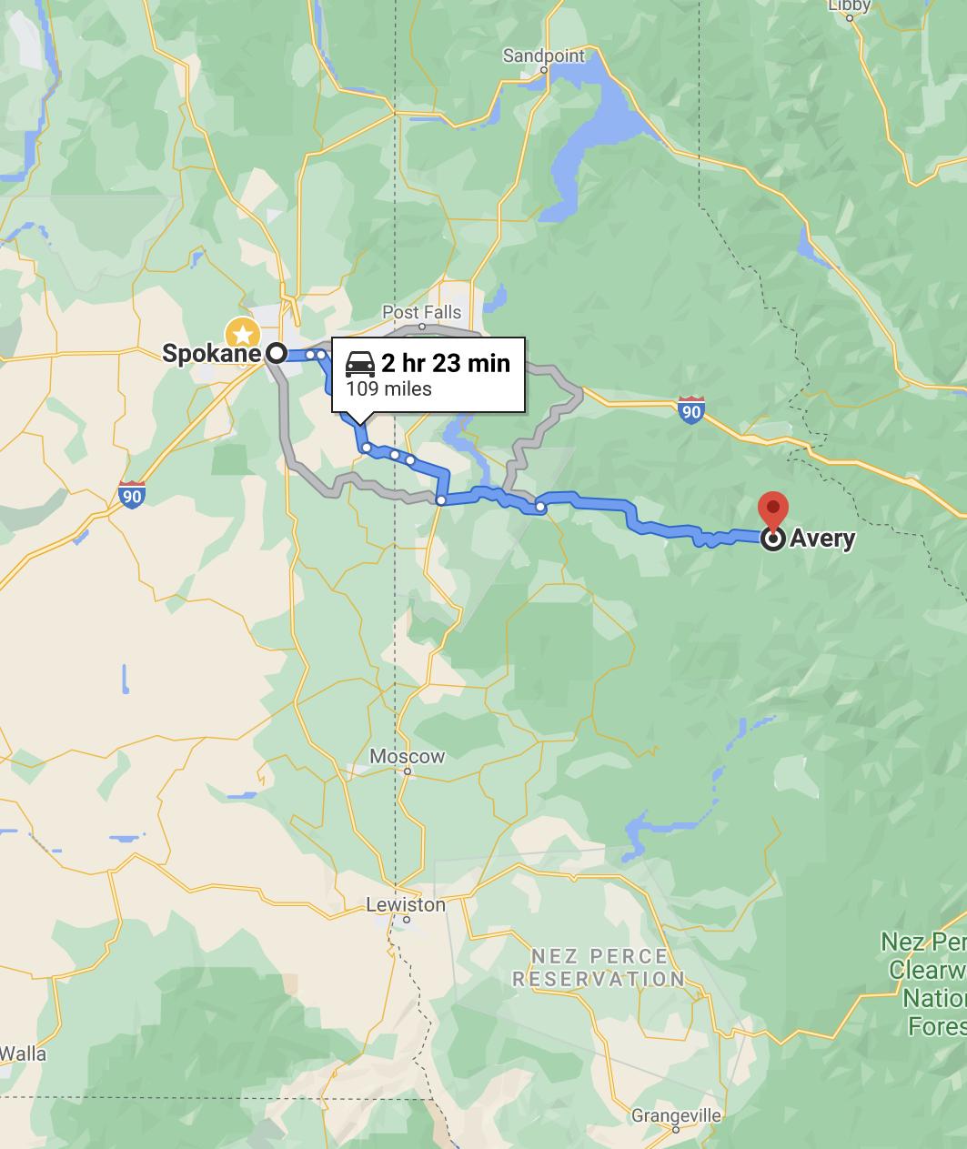 Directions to Avery Idaho