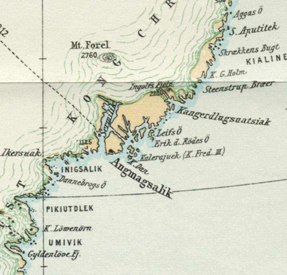 map detail of Kulusuk Greenland