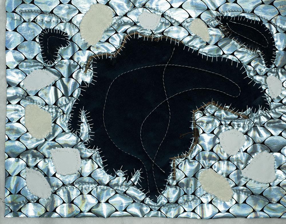 Kulusuk Greenland hand stitched map