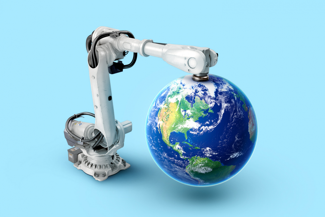 Picture of globe with robot holding it
