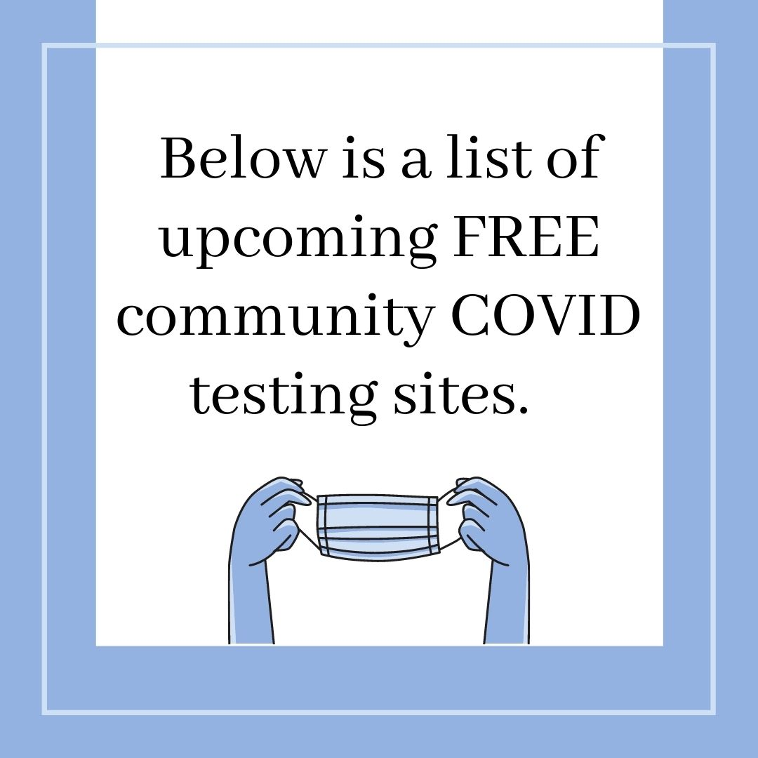 Text: Below is a list of upcoming FREE community COVID testing sites. Image: Below the text is a pair of blue hands holding up a blue mask. The image and text are within a white box with a thin light blue border and a dark blue border .