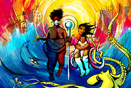 A colorful painting of a fat dark-skinned brown woman wearing a respirator mask next to a brown-skinned woman in a wheelchair with a child in her lap, both holding a staff with a glowing white orb as storms and fires rage around them. Below them is a green octopus with flood water and fire's flames. The horizon is red and orange as the city behind them burns.