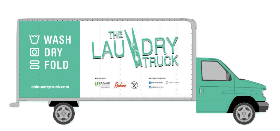 A picture of a teal and white moving truck, with the words The Laundry Truck, the