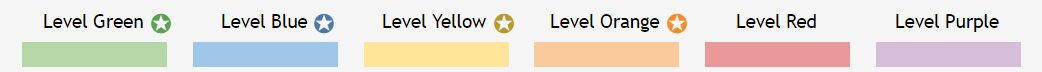 Level Green, Level Blue, Level Yellow, Level Orange, Level Red, Level Purple