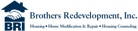 Text: Brothers Redevelopment, Inc., Housing, Home Modifications & Repair, Housing Counseling. LOGO - A blue house with two white hands handshaking and the Letters BRI underneath