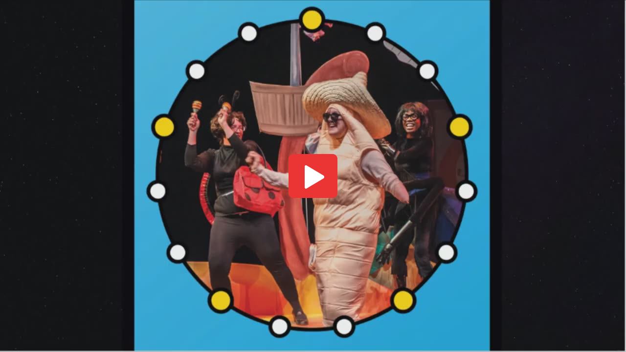A still from a video a picture of three actors, one wearing all black shacking shakers, one wearing all white with a big white hat, one on the outer edge wearing black, the image is within a blue circle border with white and yellow circles.