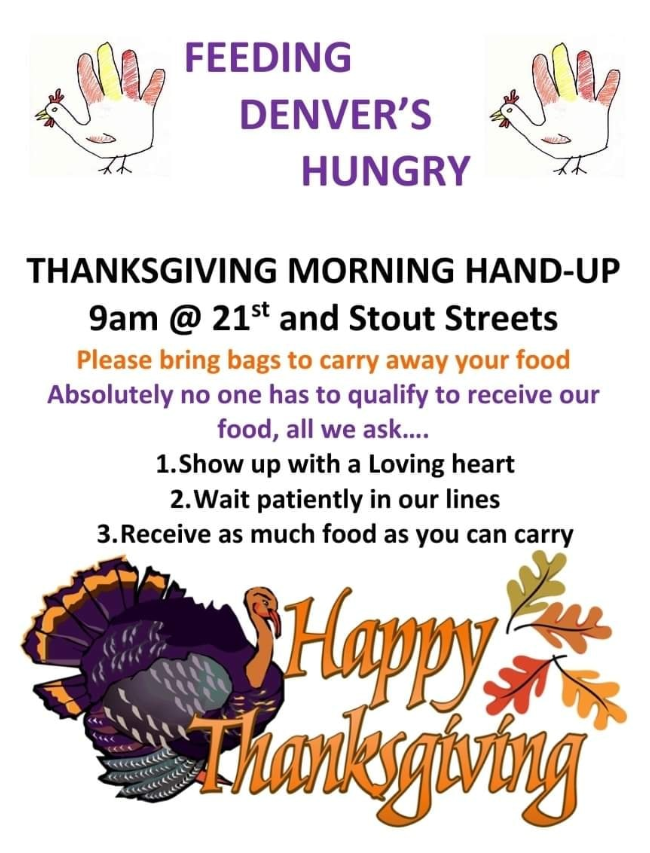 Image Description: Text: Feeding Denver's Hungry. Image: Hand Turkeys with brown, yellow, and red,