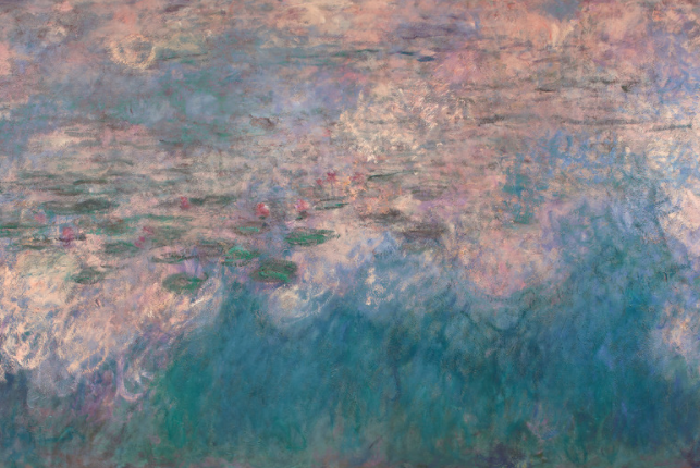 Claude Monet, Water Lillies. An oil painting with blue brush strokes representing water, and pink and white brush strokes representing the light on the water, with stylized pink water lilies