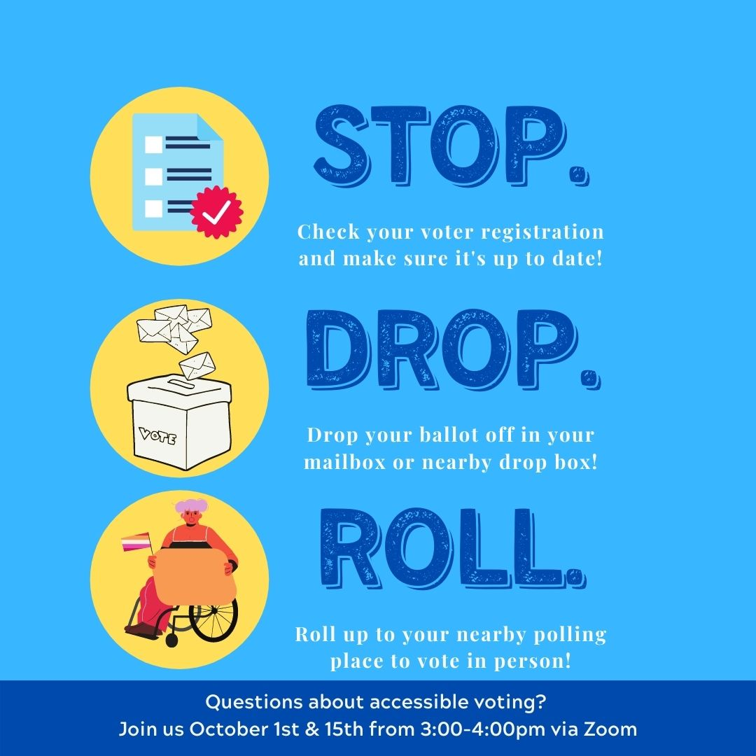 Big bold blue text reads: STOP, DROP, ROLL. Next to each word is a graphic. On the left of the word