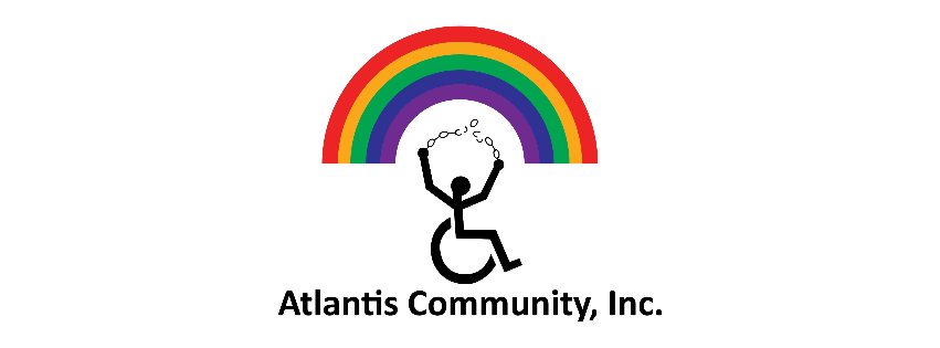 The Atlantis Community logo with a person in a wheelchair breaking chains underneath a colorful rainbow.