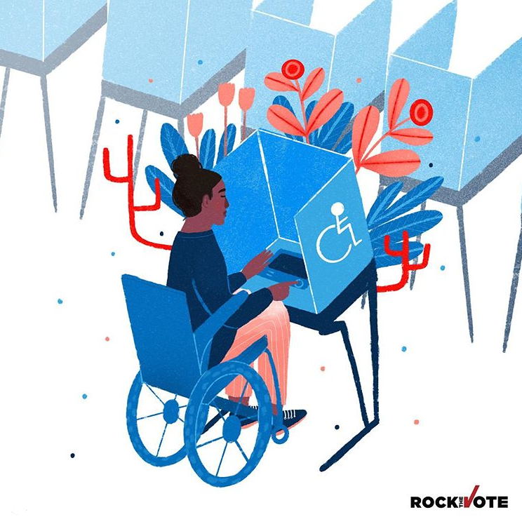 A woman in a blue wheelchair and red pants at an accessible voting booth with a line of voting booths behind it. Plants are sprouting from her voting booth.