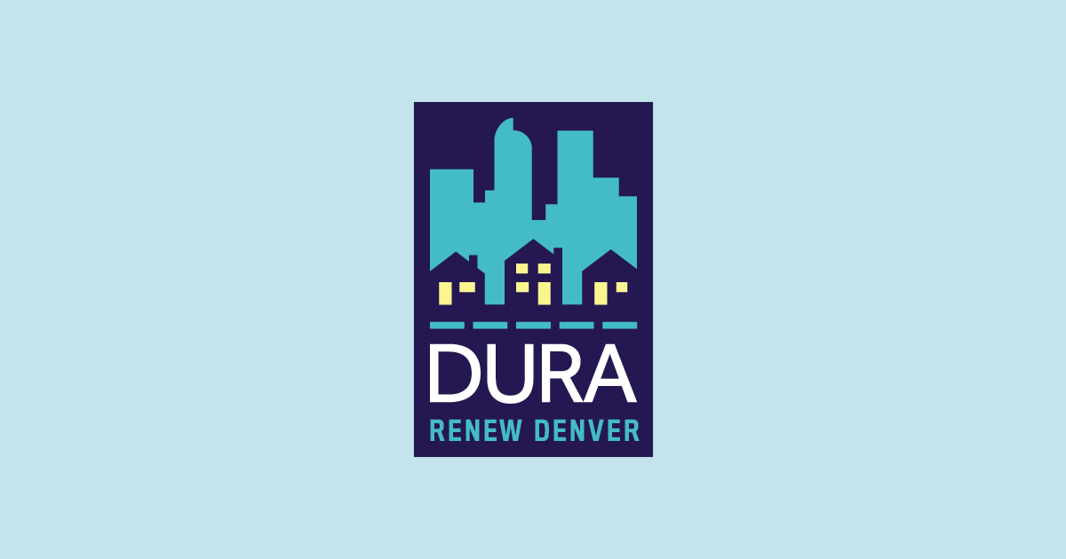 DURA Renew Denver Logo with houses in the center and the Denver skyline in the background. Behind the logo is a light blue background.